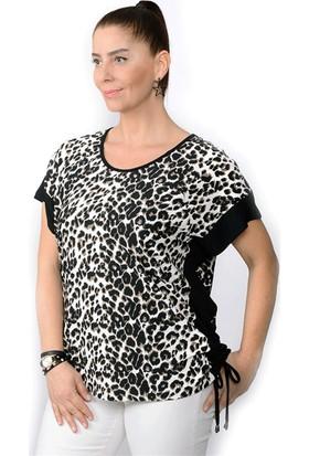 Tepa Kadın Leopar Bağcıklı Bluz