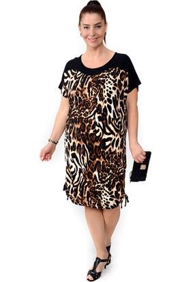 Tepa Kadın Leopar Bağcıklı Elbise