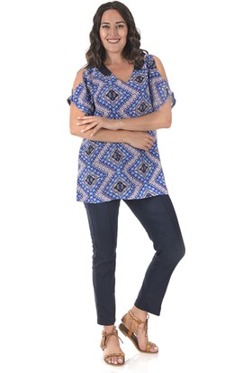 Plus Kadın Mavi Kolları Açık Bluz