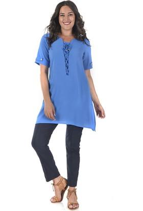 Plus Kadın Mavi Uzun Dökümlü Tunik