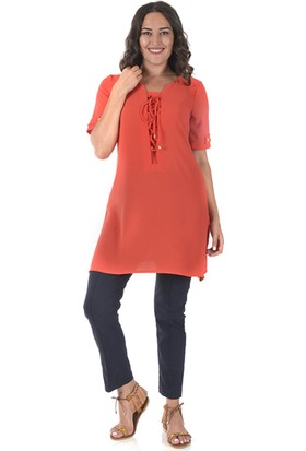 Plus Kadın Mercan Uzun Dökümlü Tunik