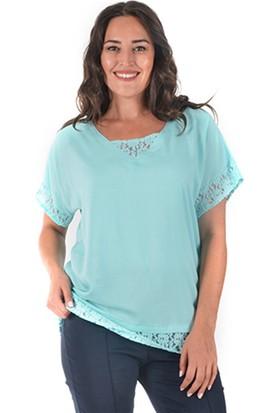 Plus Kadın Mint Dantel Detaylı Kısa Kollu Bluz