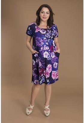 Tepa Kadın Mor Çiçekli Lisa Elbise