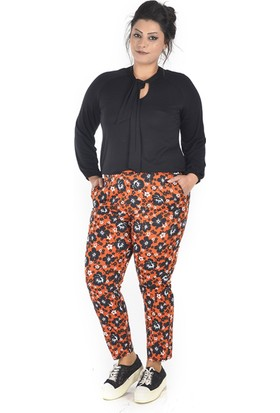 Tepa Kadın Oranj Çiçekli Summer Pantolon