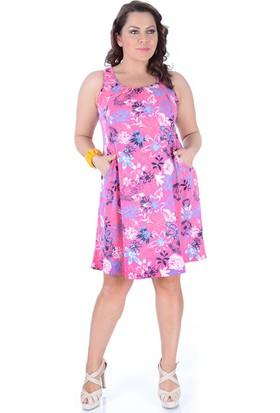 Tepa Kadın Pembe Çiçekli Cepli Elbise