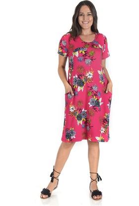 Tepa Kadın Pembe Çiçekli Otto Elbise