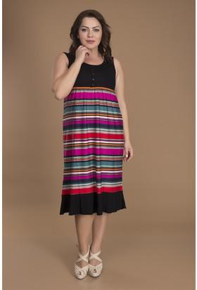 Tepa Kadın Pembe Çizgili Düğmeli Elbise