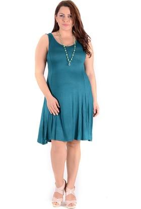 Tepa Kadın Petrol Yeşili Kolsuz Elbise