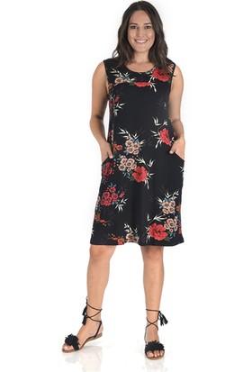 Tepa Kadın Siyah Çiçeki Otto Elbise