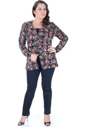 Tepa Kadın Siyah Çiçekli Ceket