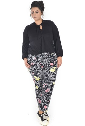 Tepa Kadın Siyah Çiçekli Summer Pantolon