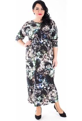 Tepa Kadın Siyah Güllü Uzun Elbise