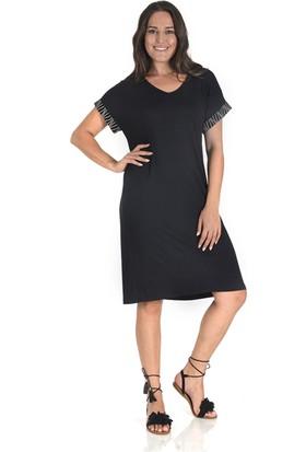 Plus Kadın Siyah Kolu Garnili V Yaka Elbise
