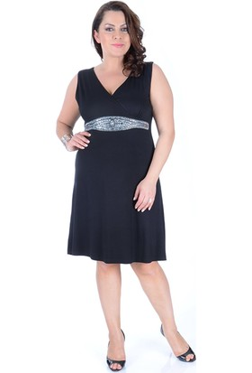 Tepa Kadın Siyah Taşlı Elbise