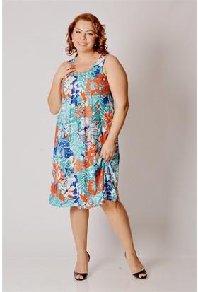 Tepa Kadın Turkuaz Çiçekli Büyük Beden Elbise