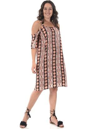 Plus Kadın Turuncu Omzu Açık Elbise