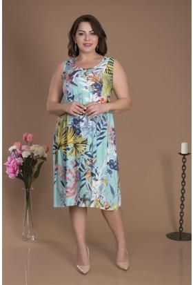 Tepa Kadın Yeşil Arkası Pileli Elbise