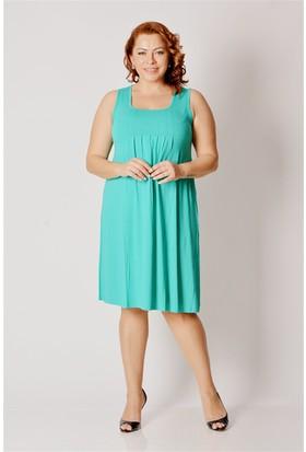 Tepa Kadın Yeşil Büyük Beden Elbise