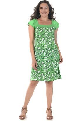 Tepa Kadın Yeşil Desenli Marine Elbise