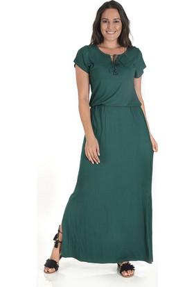 Plus Kadın Zümrüt Yeşili Yırtmaçlı Elbise