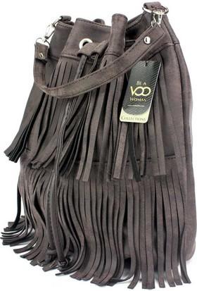 Voo Kahverengi Püsküllü Büzgülü Askılı Çanta