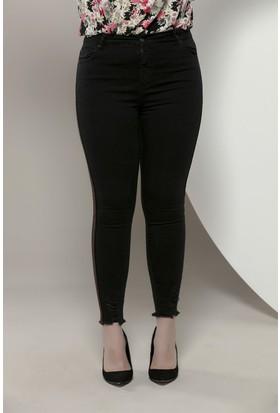 Rmg Yanları Şeritli Büyük Beden Kot Pantolon Siyah