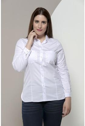 Rmg Cepleri İnci Detaylı Büyük Beden Gömlek Beyaz