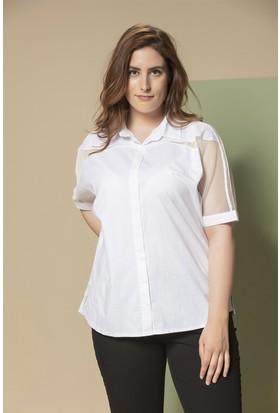 Rmg Omuzları Fileli Büyük Beden Gömlek Beyaz