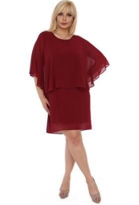 Rmg İnci Detaylı Büyük Beden Şifon Elbise Bordo