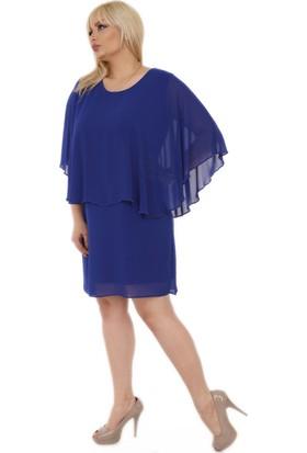 Rmg İnci Detaylı Büyük Beden Şifon Elbise Saks