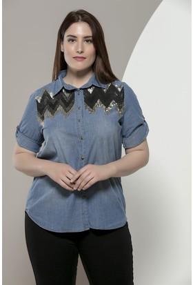 Rmg Omuzları Pul Payet Detaylı Büyük Beden Tensel Gömlek Mavi