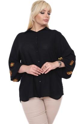 Rmg Nakış Detaylı Büyük Beden Gömlek Siyah