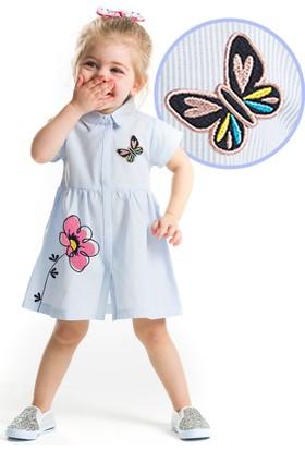 Denokids Baby Çiçekli Çizgili Elbise