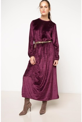 Defacto Kadife Uzun Elbise