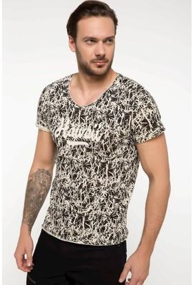 Defacto Baskılı Ekstra Slim Fit V Yaka T-shirt