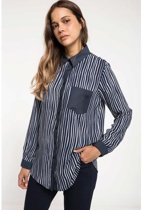 Defacto Cep Detaylı Çizgili Gömlek Tunik