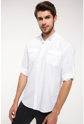 Defacto Katlanabilir Kol Detaylı Çift Çep Gömlek