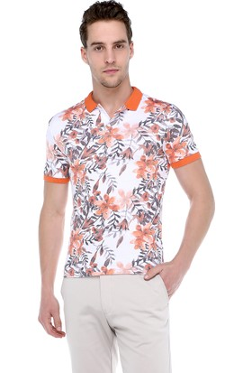 Philip Loren Turuncu Desenli Polo Yaka T-Shirt Og18B007R02