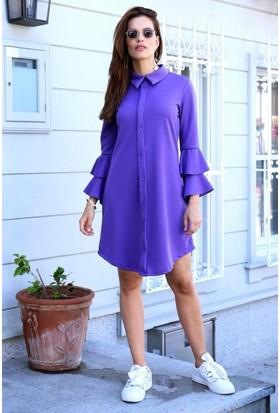 Eka Kolları Volanlı Gömlek Elbise