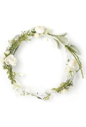 Elit Beyaz Çiçekli Taç