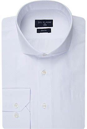 D'S Damat Beyaz Erkek Gömlek Slim Fit