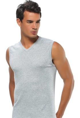 ModaKids Gümüş İç Giyim Gri V Yaka Gri Spor Atlet 040-4012-011