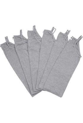 ModaKids Gümüş İç Giyim Kadın 6lı Gri İp Askılı Atlet 040-4023-011