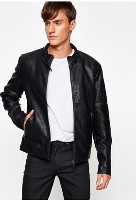 Koton Erkek Deri Görünümlü Ceket