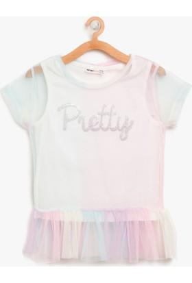 Koton Kız Çocuk Tül Detaylı T-Shirt