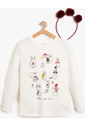 Koton Kız Çocuk Yılbaşı Temalı T-Shirt