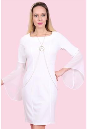 Lafaba Kolları Şifon Volanlı Beyaz Elbise