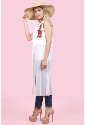 Lafaba Çiçek Aplikeli Şifon Beyaz Yelek