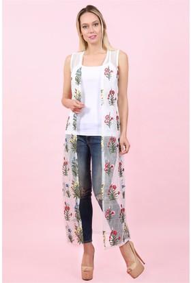 Lafaba Çiçek Nakışlı Uzun Beyaz Yelek