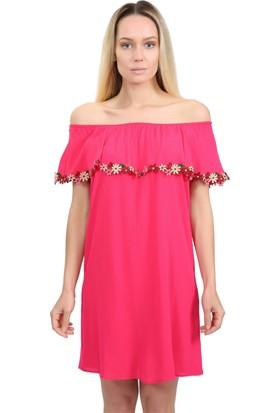 Lafaba Çiçek Detaylı Fuşya Elbise